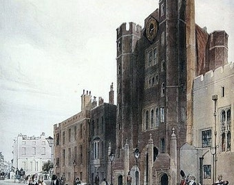 """Vintage 17"""" X 21"""" including Mat of Thomas Shotter Boys Print after Original, showing the Palace of St. James, Pall Mall (1803-1874)"""