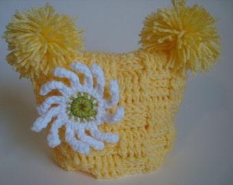 Crochet Hat Beanie for Baby Girl, Basket weave Stitch, Daisy Flower, Yellow, Green, White, Handmade, Photo Prop.