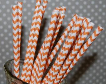 paper straws Orange Chevron Straws  25 paper straws & Flags - chevron stripe drinking straws - zig zag cake pop sticks vintage party straws