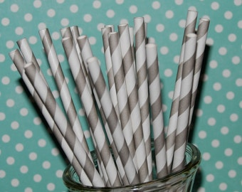 """Stripe straws - 25 Gray barber striped paper drinking straws - with FREE blank Flags / Pendants. See also - """"Personalized"""" flags option."""