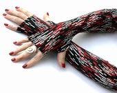 Retro Red and White print, long fingerless gloves, mittens, arm warmers -  vintage, retro , gloves , hand warmers