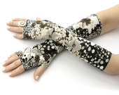 Boho Gloves, Cream Flower Printed Arm warmers, Fingerless, Gypsy, Wedding,  Dance Sleeves, Hippie