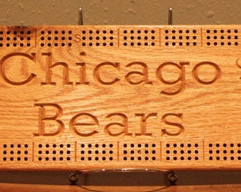 Chicago Bears Cribbage Board Made From Oak