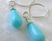 Blue peruvian opal earrings dangle earrings, choose bright or oxidized silver artisan design handmade