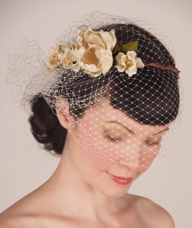 Headpieces For Wedding Veils: Wedding / Bridal Headpiece French Birdcage Veil & Floral