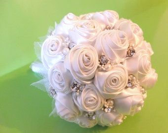 Handmade Ribbon Rose Bouquet- Off White Rose accented with rhinestone (Medium, 7 inch)