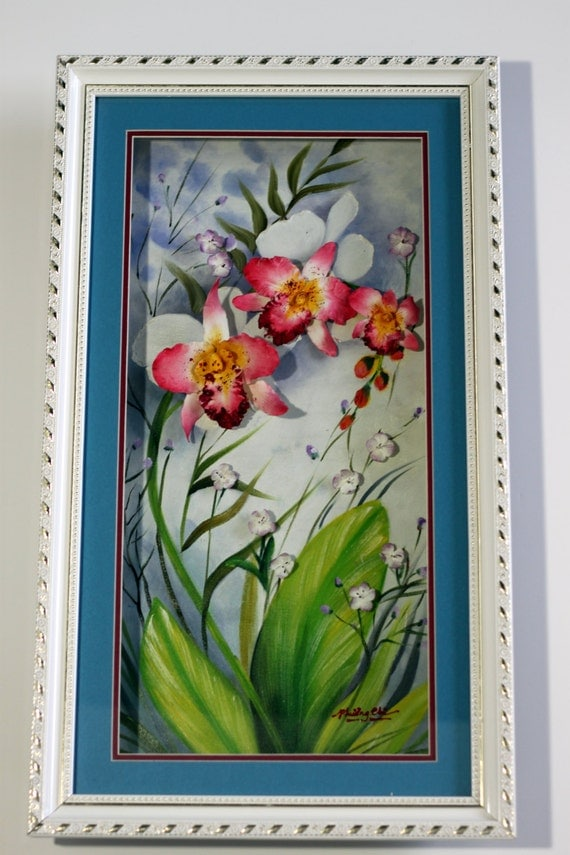 Orchids clay flowers oil painting original 3d home d cor for 3d clay mural painting