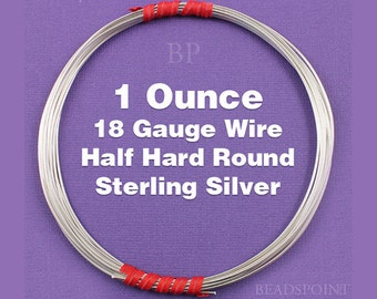 Sterling Silver .925 18 Gauge Half Hard Round Wire on Coil, Wrapping Wire, 1 Full Ounce (Approx. 13 Feet ) SS-W18/HH