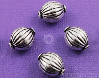 Bali Sterling Silver Lovely 10x14mm Corrugated Melon Bead, Oxidized Finish, Great Accent for Handmade Beaded Jewelry, 1 Piece (BA-5095)