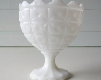 Milk Glass Compote, Pedestal Bowl, Milk Glass Candy Dish, Planter, Wedding Tablesetting