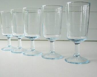 Blue Beverage Glasses, Goblets, Set of Five, Pedestal Glassware, Cottage Chic