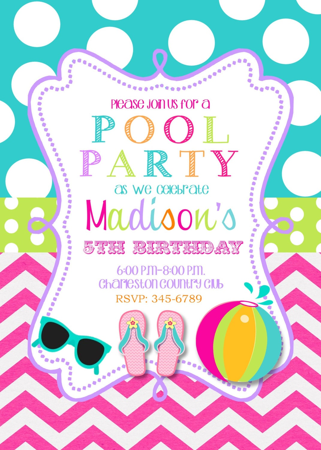 Pool Party Birthday Party Invitations Printable Or Digital