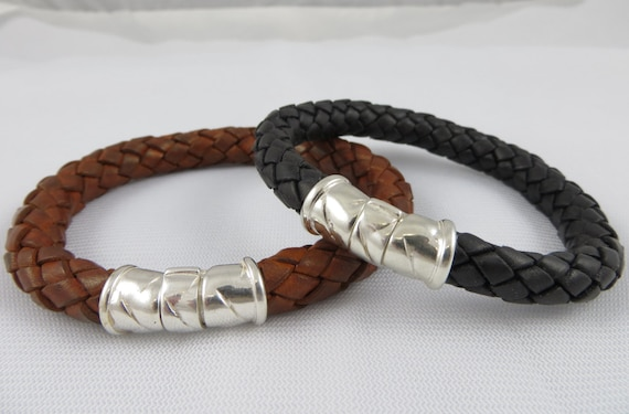 s leather bracelet with sterling silver clasp mens