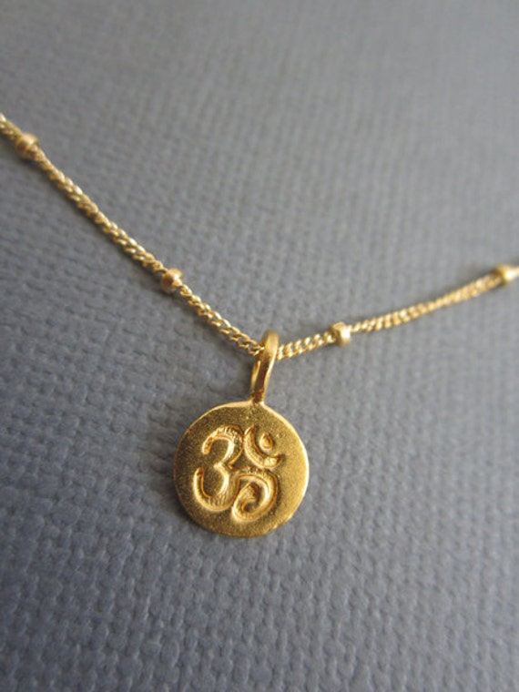 Om Necklace Tiny Om Pendant Necklace Gold Om Charm On 14k