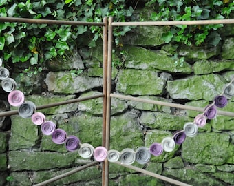 Ombre Gray and Purple Garland, Purple Paper flower garland- 7 feet