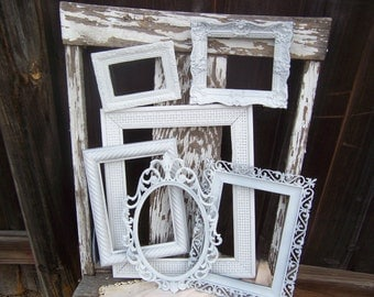 Picture Frame Set - Distressed Farmhouse Frames - Set Of 6 Shabby Chic Frames - Open Frames