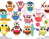 Sport owls Digital clip art (part 1) for Personal and Commercial use - INSTANT DOWNLOAD