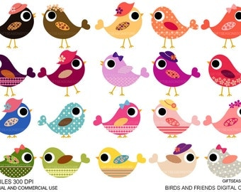 Birds and friends Digital clip art for Personal and Commercial use - INSTANT DOWNLOAD