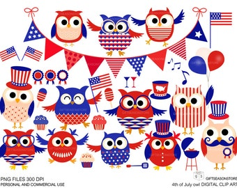 4th of July owl Digital clip art  for Personal and Commercial use - INSTANT DOWNLOAD