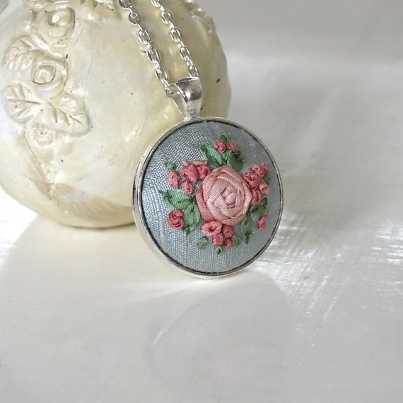 Silk ribbon embroidery rose pendant necklace