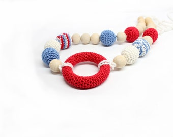 Nautical Crochet Nursing Necklace - Red/Blue/White Breastfeeding Necklace - Teething Necklace with wooden ring
