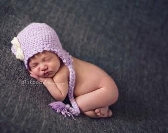 Newborn/Baby Cottage Rose Mauve Hat/Baby Photo Prop
