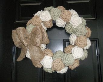 Burlap Rose Wreath, wedding wreath, Mothers Day wreath, Valentines Day wreath