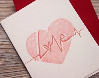 Heartbeat - Letterpress Valentine Card - Love Card