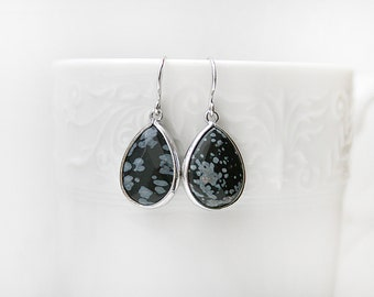 Black and White Polished Silver Rhodium Plated Framed Obsidian Stone Earrings