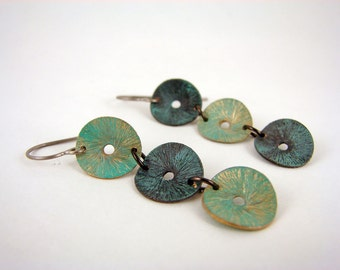 "Brass ""Flying Saucers"" patina disc earrings"