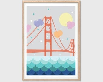 AMERICA | San Fran Poster : Modern San Francisco Illustration Retro Art Wall Decor Print