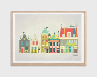 HOLLAND | Baby Went to Amsterdam Poster : Modern Townhouses Illustration Retro Art Wall Decor Print