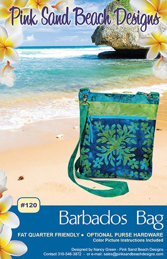 Barbados Bag Pattern To Make Pocket DIY Sewing, Pink Sand Beach Designs Fat Quarter Friendly