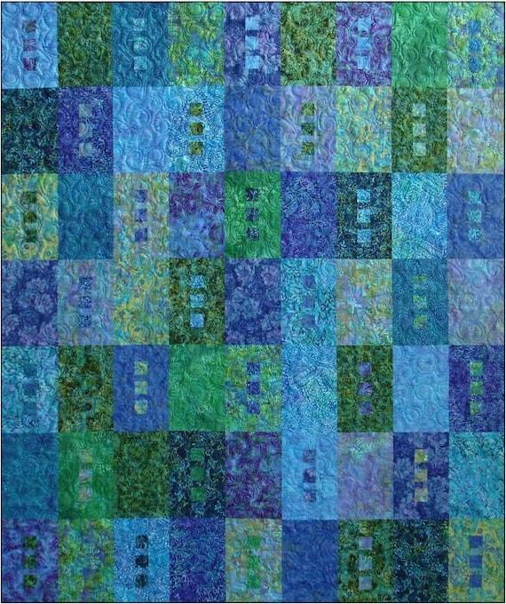 Zen Quilt Kit Includes Pattern Batik Fat Quarters Blue