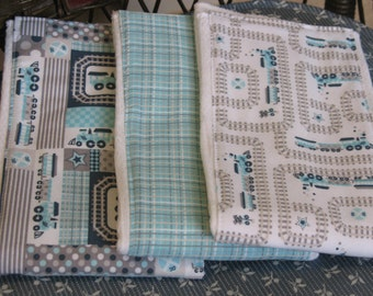 Burp Cloth Set of 3-Handmade-Railroad Train-Gray/Aqua/Tan-Great Baby Shower Gift