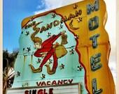 "Sandman Motel Sign St. Petersburg, Florida Photo Print - 8"" x 8"""