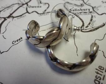 Vintage Sterling Silver Semi Hoop Earrings