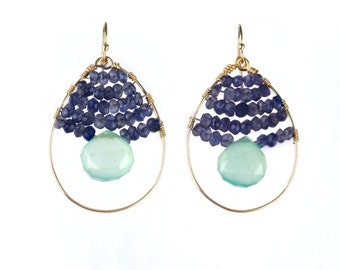 Iolite Chalcedony Hoops, Blue Seafoam Green Gold Wire Wrapped Gemstone Earrings