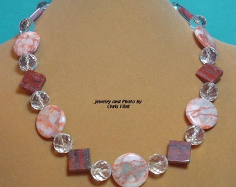 "Beautiful Marble, Jasper and Sparly necklace - 18"" - N135"