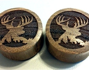 "Custom Handmade Organic ""Trophy Buck"" Wood Plugs - You choose wood type/color and size 7/16"" - 30mm"
