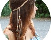 Light Leather and Feather Multi-Use Headband, Armband, Belt, Necklace, etc