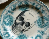 Skull Vintage China Dinner Plate Wall Decor