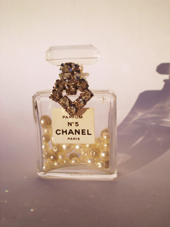 Vintage Authentic Chanel No 5 Parfum Miniature Bottle embellished with Vintage Rhinstones Valentines Day SMALL