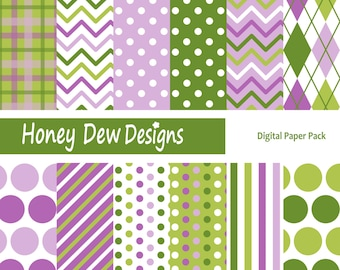 Instant Download - Digital Paper Pack 226 - Purple and Green Patterned Paper