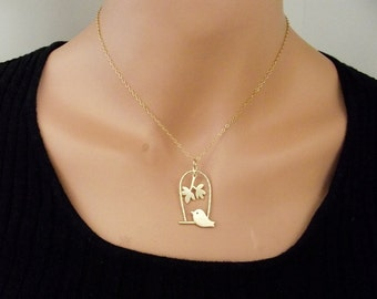 Gold Plated Love Birds on swign Necklace,  Bird Necklace,  Sparrow Necklace, Sparrow bird -  Cute, Dainty, mother, mom, teen