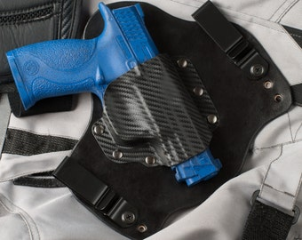 Smith and Wesson M&P 40 and 9 MP Full and Compact Carbon Fiber Kydex Black Leather Hybrid Gun IWB Holster