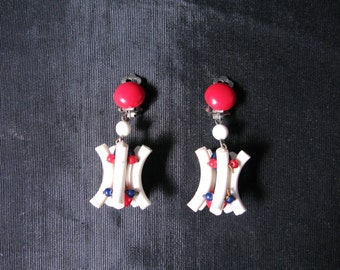 4th of july earrings, July 4th Jewelry, Fourth of July Earrings, Clip on Red White Blue 60s Mod