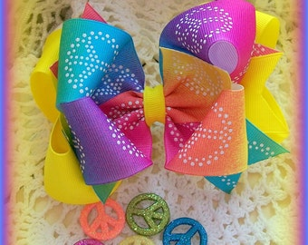 Neon Hair Bow....Peace Sign Hair Bow....Rainbow Hair Bow...Girls Hair Bow...Toddler Hair Bow...Infant Hair Bow