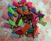 20 pieces Mixed color (20 colors)40 mm Suede Leather Tassel With Antique bronze  color plastic Cap