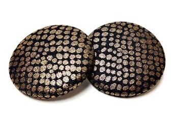 Extra Oversized Golden Dot Print Button Earrings